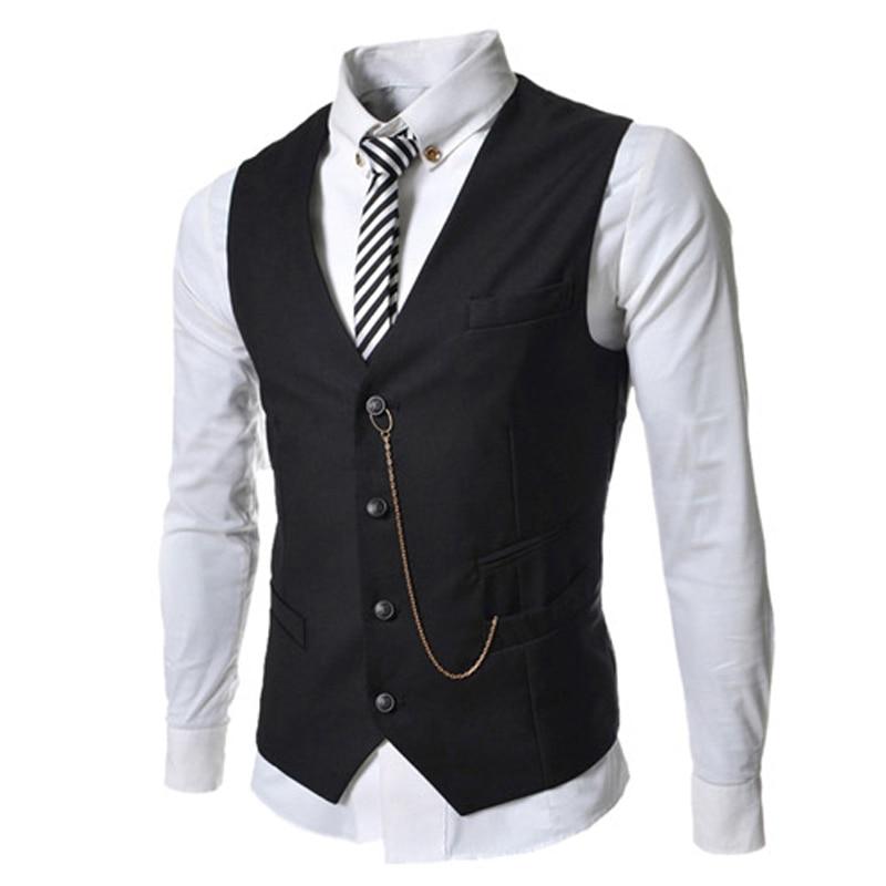 Free Shipping 2017 New Men's Suit Vest Metal Chain V-necke Slim Fit Fashion Men Vest Male Blazer Vest 4 Color Size:M-XXL