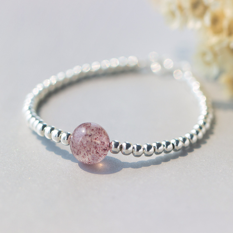 100% Real. 925 Sterling Silver Jewelry Natural Pink Strawberry Quartz Stone with Lucky Round Ball Bead Bracelet Charms GTLS334