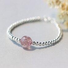 100% Real. 925 Joyas de Plata Naturales de Color Rosa Fresa de Cuarzo Piedra con Suerte Bola Redonda Del Grano de la Pulsera de Los Encantos GTLS334