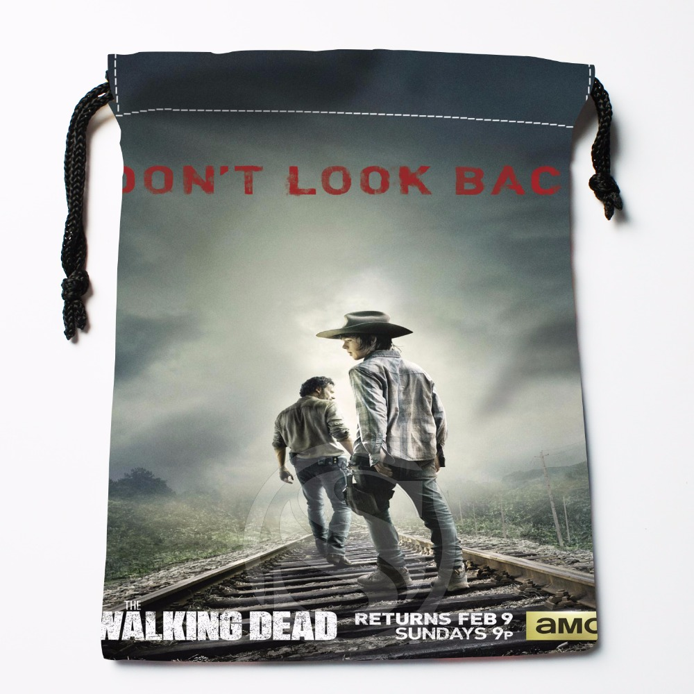 Fl-Q7 New The Walking Dead Season #2 Custom Logo Printed  Receive Bag  Bag Compression Type Drawstring Bags Size 18X22cm 711-#F7