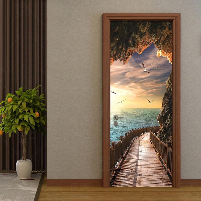 3D Wallpaper Beautiful Seaside Landscape Photo Wall Door Mural Living Room Bedroom Creative DIY Door Sticker PVC Vinyl Wallpaper