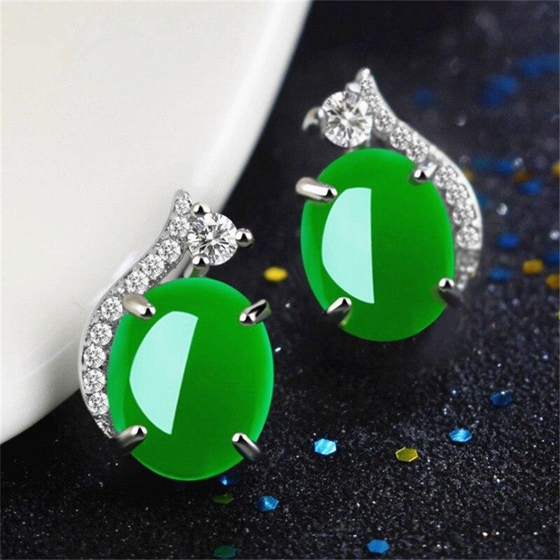Silver Chalcedony Jade Green Agate Crystal Earrings Diamond Pierced Earrings Personalized Turquoise Gemstone stud earrings 2019