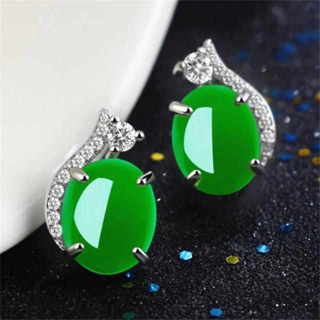 925 Silver Chalcedony Jade Green Agate Earrings Diamond Pierced Earrings Turquoise Gemstone 925 garnet stud earrings for women
