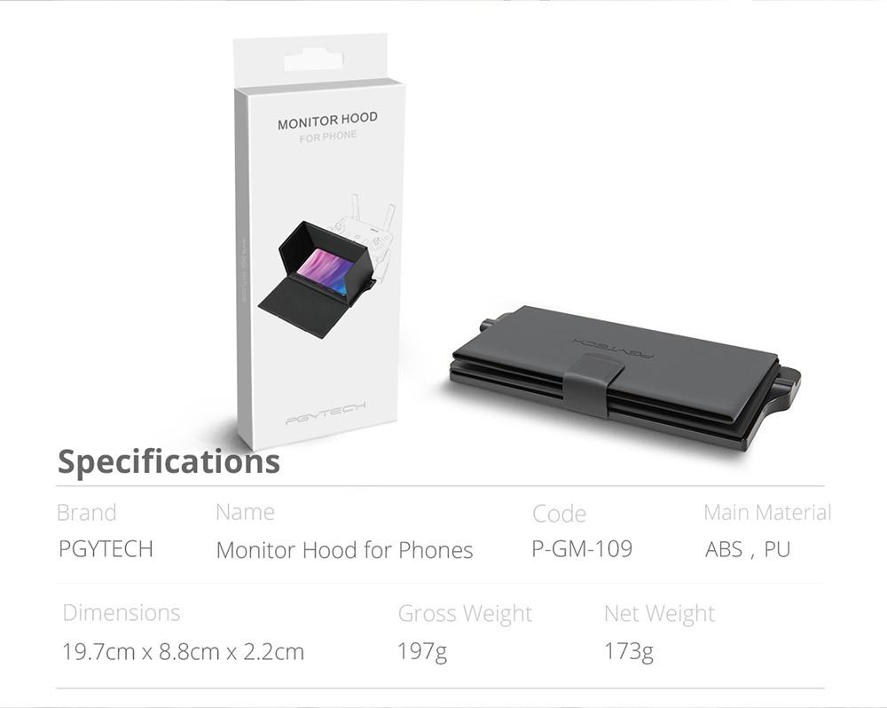 PGYTECH Phone Monitor Hood Remote Control Cover Sun Shade for DJI Mavic Pro//air Phantom 4 pro Spark Sun Hood