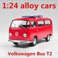 1:24 сплава автомобилей, Volkswagen Bus T2 высокая моделирования модель автомобиля, металл diecasts накатом, детская toy транспорт, бесплатная доставка