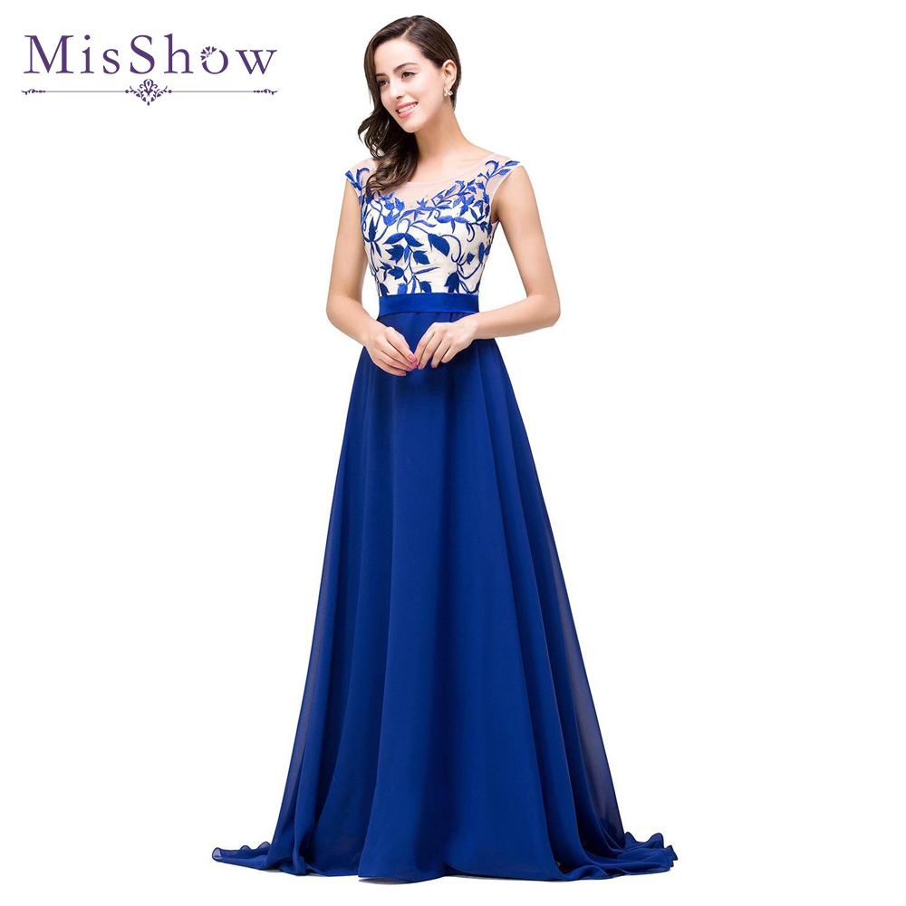2019 Elegant A Line Cap Sleeve Royal Blue Chiffon Long Evening Dresses Robe De Soiree Longue