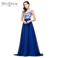 2016 Elegant A Line Cap Sleeve Royal Blue Chiffon Long Evening Dresses Robe De Soiree Longue