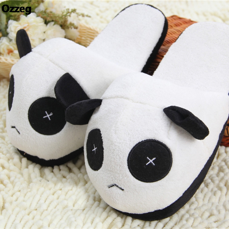 Winter Indoor Panda Slippers Flat Furry Home Cartoon Women emoji Plush Slippers unisex Couple Animal Warm Non-slip Shoes cry emoji cartoon flock flat plush winter indoor slippers women adult unisex furry fluffy rihanna warm home slipper shoes house