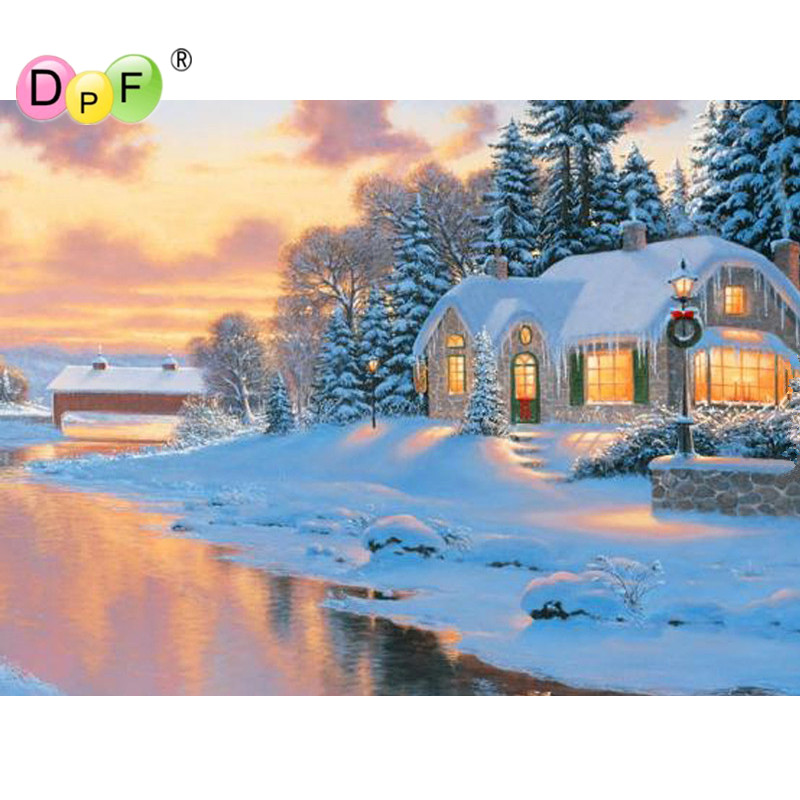 New 5D DIY Diamond Painting Crystal Cross Stitch Needlework river snow house diamond embroidery rhinestone Home Decor crafts