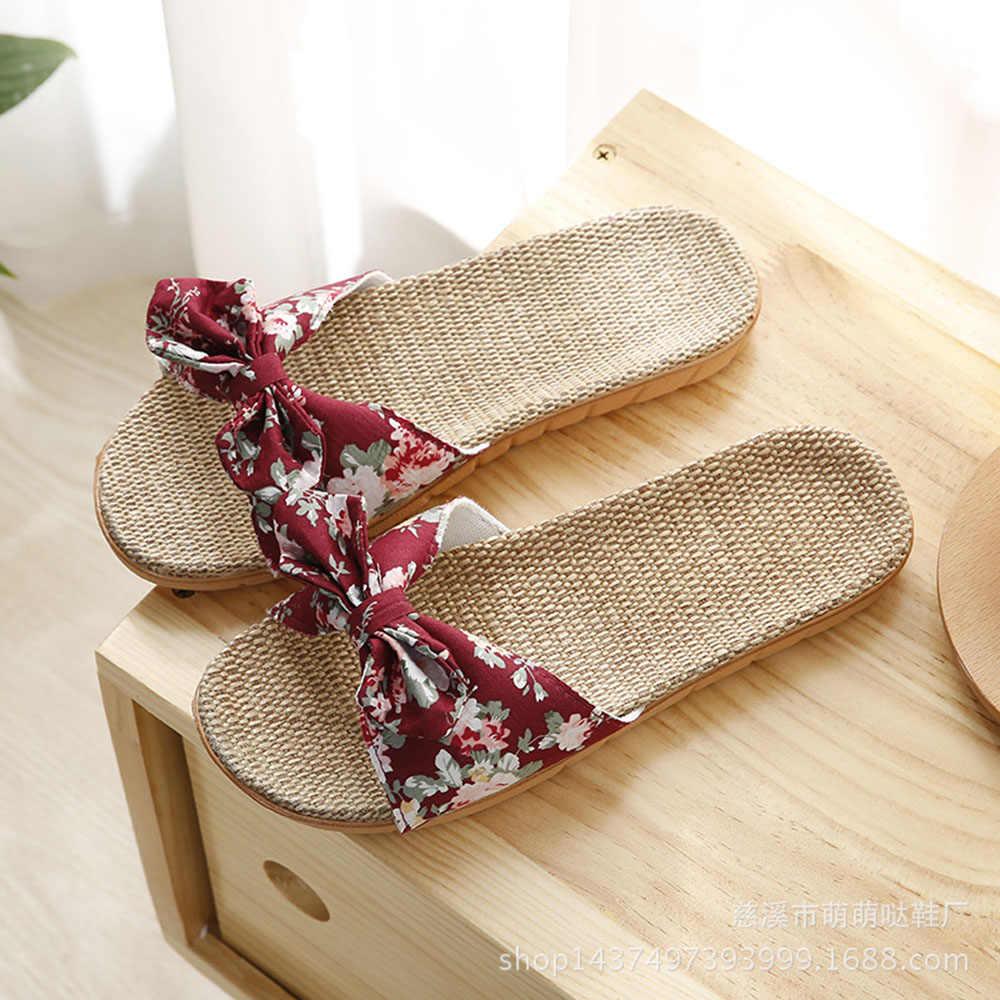 Новые летние тапочки; женская обувь; пляжные шлепанцы; женские повседневные Нескользящие сандалии с бантиком-бабочкой; дышащие мокасины для дома