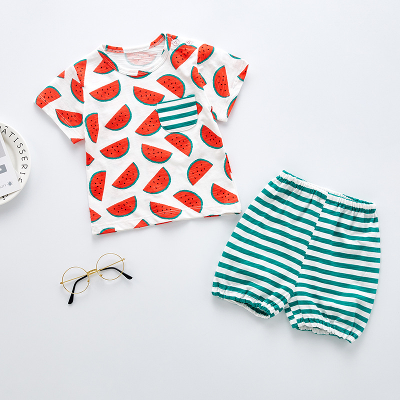 Baby Girl Clothes Summer Baby Boy Clothing Sets 2018 Children Clothing Striped Fruit Watermelon T Shirt + Shorts Kids Clothes
