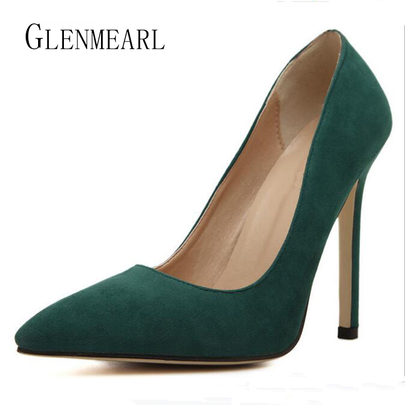 2017 New Hot Women Pumps Shoes Thin High Heel Shoes Flock Single Shoes Pointed Toe High-Heeled Shoes For Females Plus Size ZK25 new 2017 spring summer women shoes pointed toe high quality brand fashion womens flats ladies plus size 41 sweet flock t179