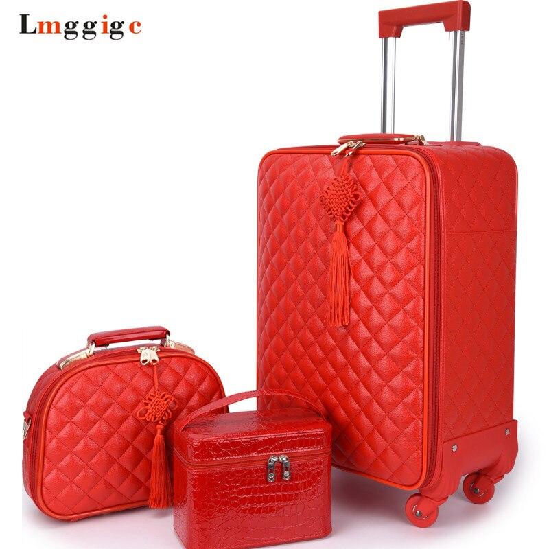 Ensemble de sac de valise pour femme bagage roulant de voyage, sac en cuir PU imperméable rouge avec roue, nouveau boîtier de chariot de 20