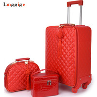 Women 's Suitcase bag set Travel Rolling Luggage ,Red Waterproof PU leather Bag with Wheel ,2024 inch New Trolley case