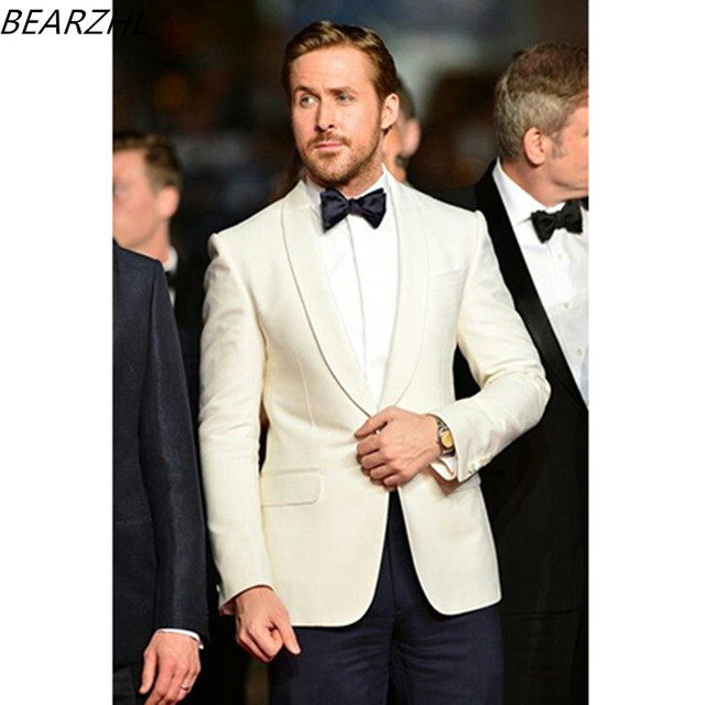 Mens Ivory Wedding Suit Groom Tuxeo Slim Fit One On For 2017 Men Dress Custom Made