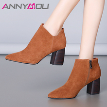 ANNYMOLI Autumn Ankle Boots Women Shoes Cow Suede Chunky High Heels Short Boots Genuine Leather Zipper Shoes Female Size 34-39 цены онлайн