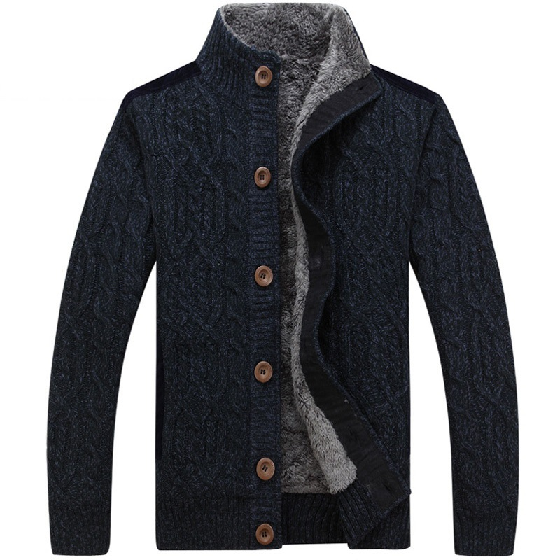 The New Winter Sweater Cardigan Sweater Mens Cashmere Knitted Sweater Coat Plus Thickening