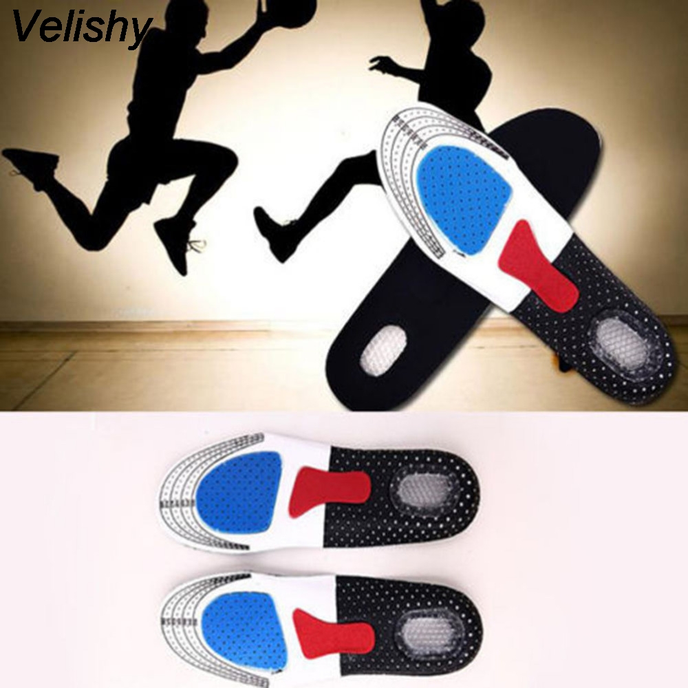 Velishy Hot Selling Unisex Orthotic Arch Support Shoe Pad Sport Running Gel Insoles Insert Cushion for Men Women Free Size