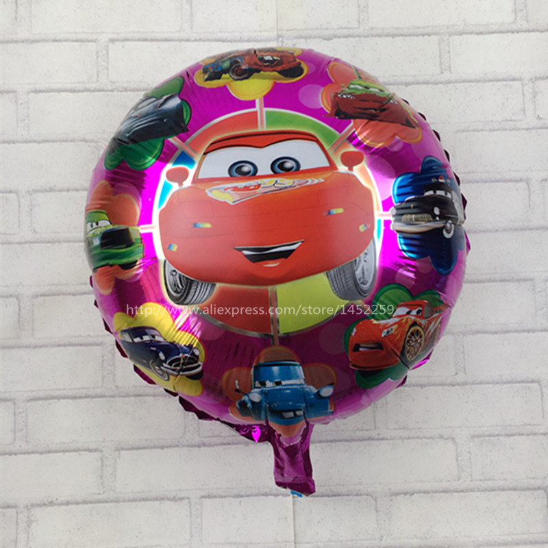 "XXPWJ Free shipping  Cartoon Happy Birthday balloon Cars story 18 ""INCH Round Balao for Party Supplies car helium baloons"
