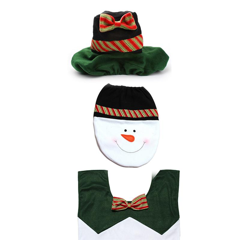 3pcs Christmas Snowman Bathroom Toilet Seat Cover Water ...