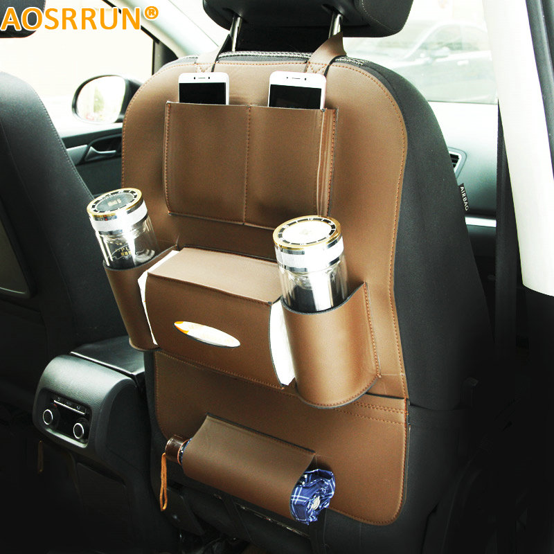 AOSRRUN Car Accessories Leather Multi-function car seats backpack For BMW X5 X6 X3 X4 F15 F16 F25 F26 E70 E83 2010-2015 2016
