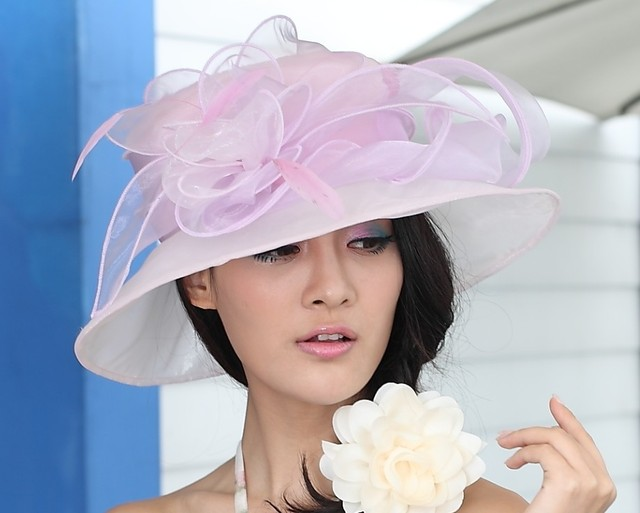 Free Shipping Lady Organza Hat Derby Church Wedding Cocktail Evening Party Beach Dress Cap Sunmer Wide Brim Sun Hat Vintage New