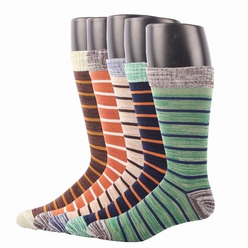 Rioriva 5 Par/lote hombres Classic Stripe Calcetines de Vestir Formales Media Pantorrilla Mezcla de algodón Ee.uu. 7-11 Con Caja de Regalo Hombres Soc Sox Todo temporada