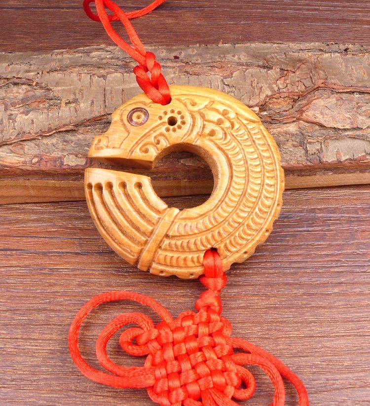 Long Yi Chi dragon bois sculpture pendentif pendentif zodiaque dragon univers voiture Jushi 2050215 - 2