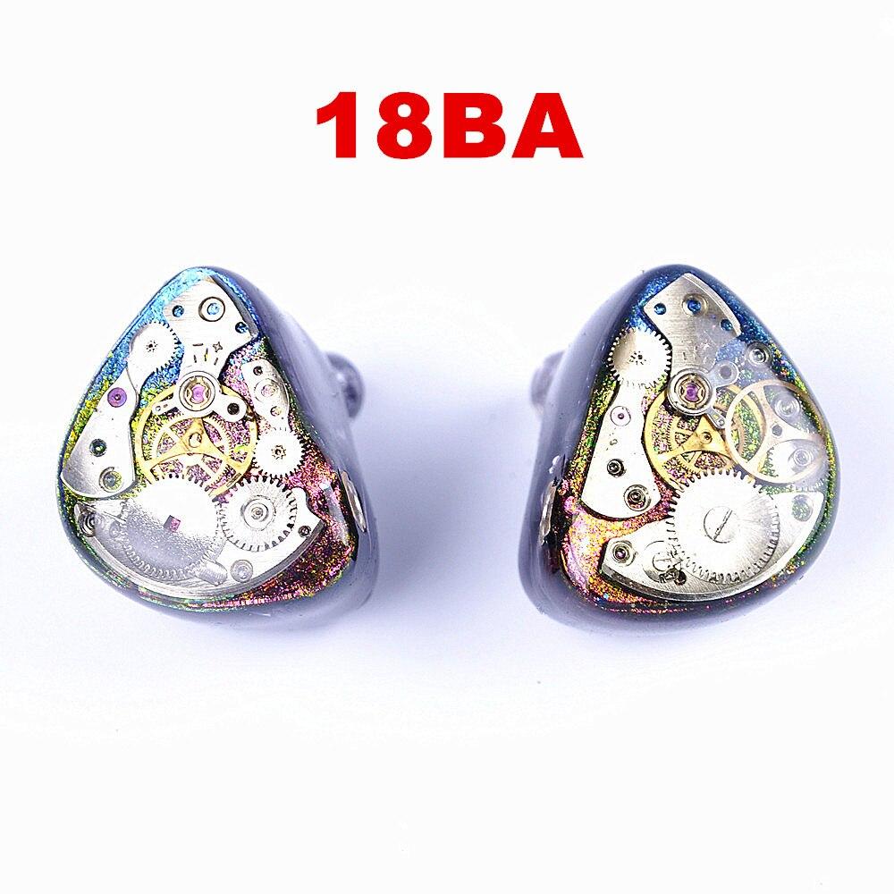 Wooeasy 18BA Custom Made Armadura Balanceada Matar UE900 SE846 K3003 Em Torno de Earbud Fone de Ouvido Fone de Ouvido Com MMCX EMS DHL livre