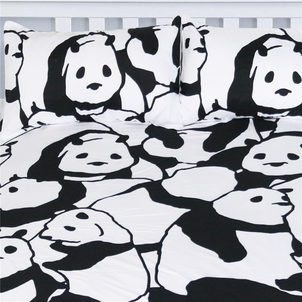 Image 3 - CAMMITEVER Panda Bedding Set Duvet Cover With Pillowcases Animal Home Textiles 3pcs Bedclothes-in Bedding Sets from Home & Garden