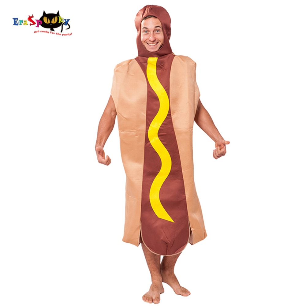 Eraspooky Dropshipping 2018 New Arrival Halloween Costume Party Wear Adult Costume Hot Dog Costume Funny Jumpsuit Cosplay