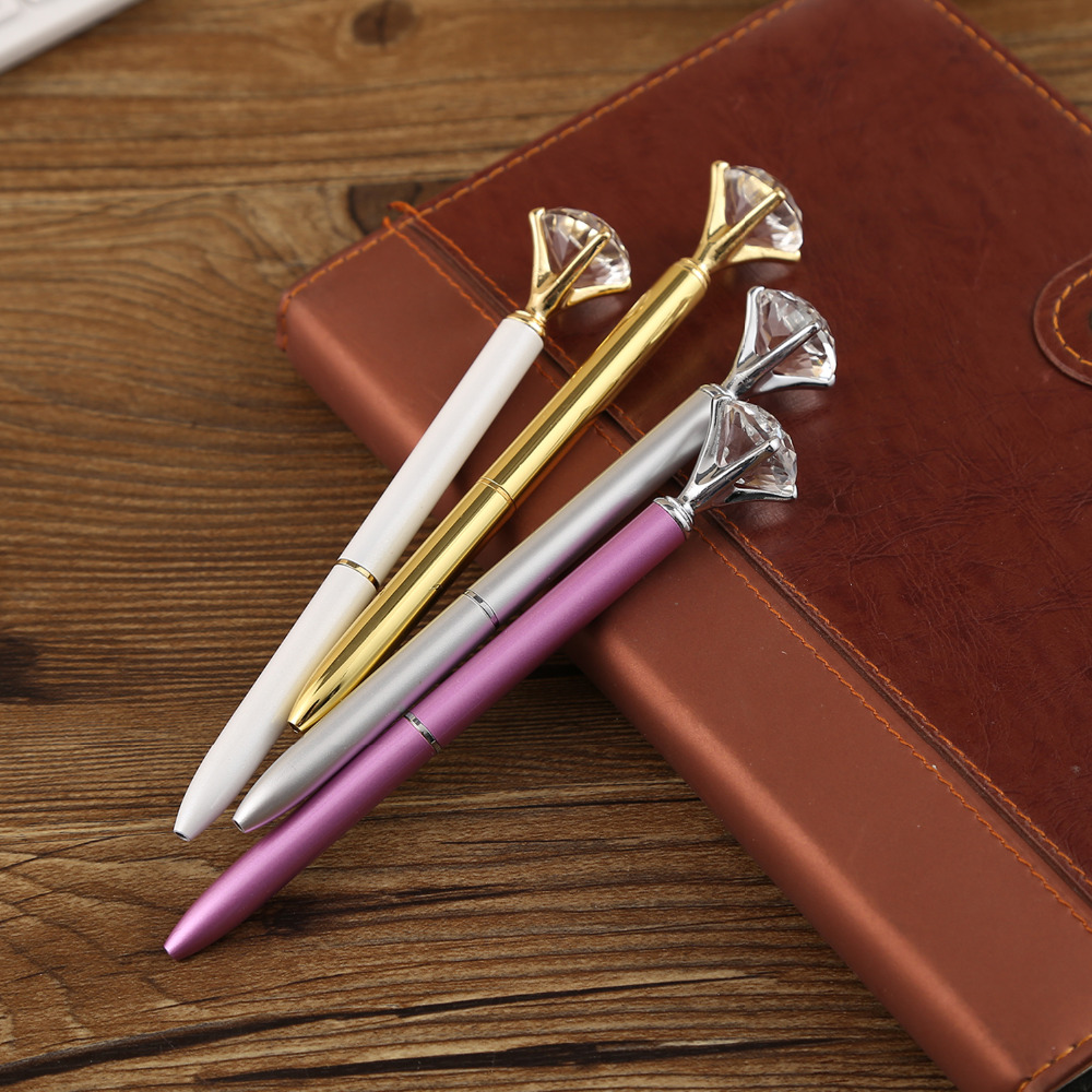 1Pc Big Crystal Ballpoint Pen 19 Carat Large Diamond Ball Pen Material Escolar Bolis Escolares Novelty Office Metal Rose Gold in Ballpoint Pens from Office School Supplies