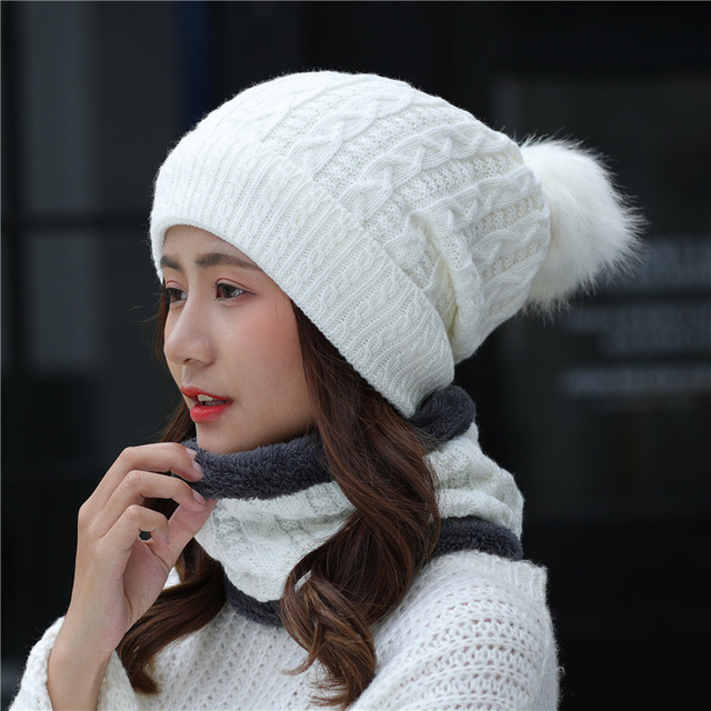 2017 Hairball Beanies With Scarf Knitted Hat Women s Winter Hats For Women  Soft Caps Warm Fur Winter Beanie Knit Bonnet Hat 32c23a9b658
