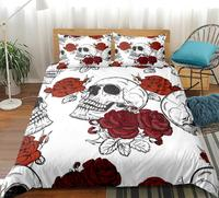 White Skull Bedding Set Roses Duvet Cover With Pillowcases Floral Printed Red Gothic Home Textiles 3pcs Bedclothes