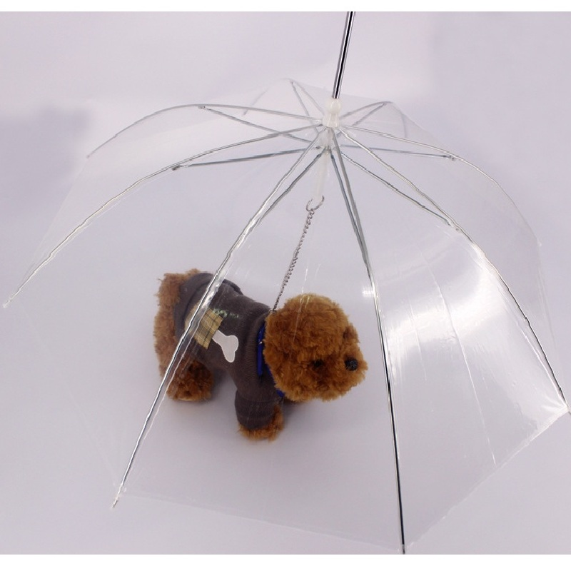 PE Lluvia paraguas perro mascotas plomo plomo correa de Perro impermeable Transp