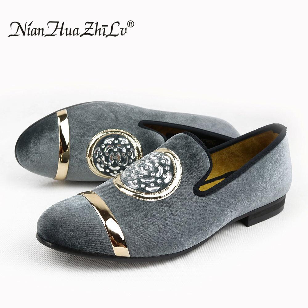 Новые модные мужские бархатные модельные туфли золотистого цвета с металлическим носком, роскошные мужские классические лоферы на плоской...