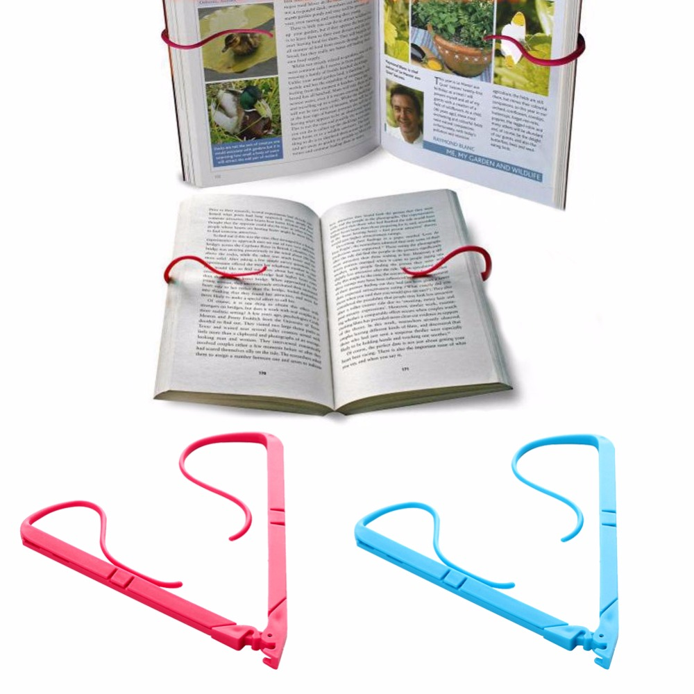1pc Books Stand Portable Hands Free Book Holder Folding Stand Holds Pages Open Clip Fixed Clamp #277199