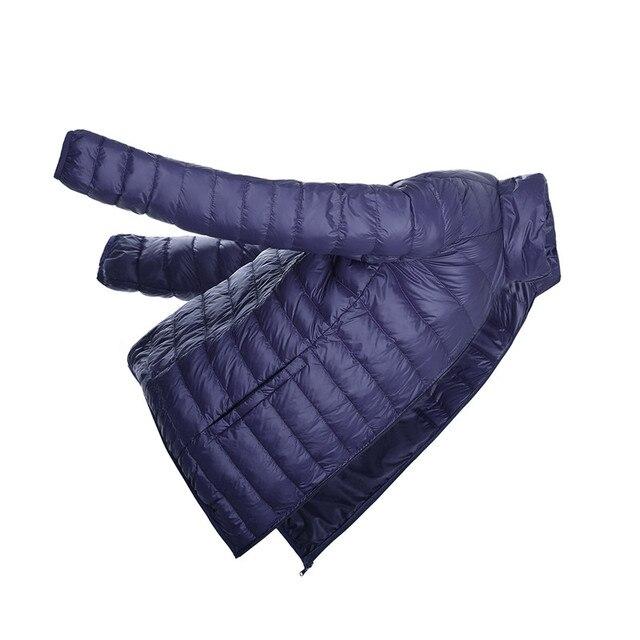 Мужская Куртка 2016 Осень Зима Корейский Duck Down Ultra Light Solid капюшон Парки Тонкий Черный Тонкий Для Зимнее Пальто Большой Размер XXXL