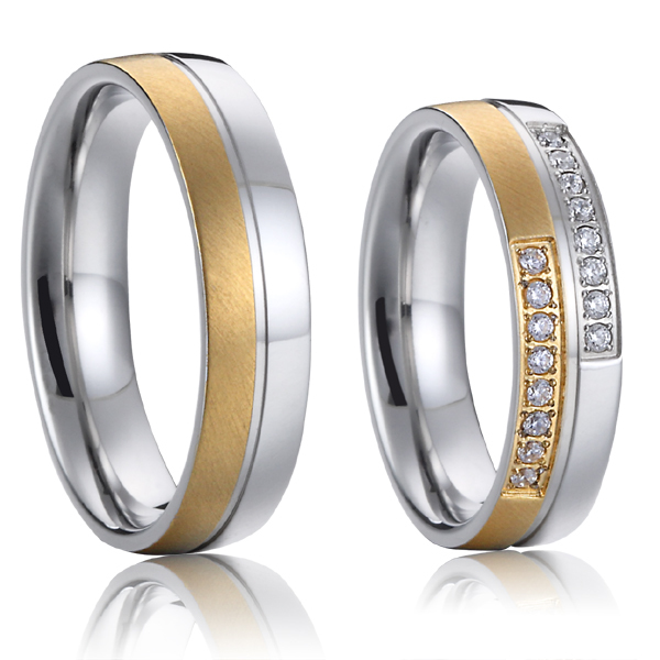 цена Top Quality Lifetime Collection Handmade gold color titanium matching wedding couples promise rings sets alliance