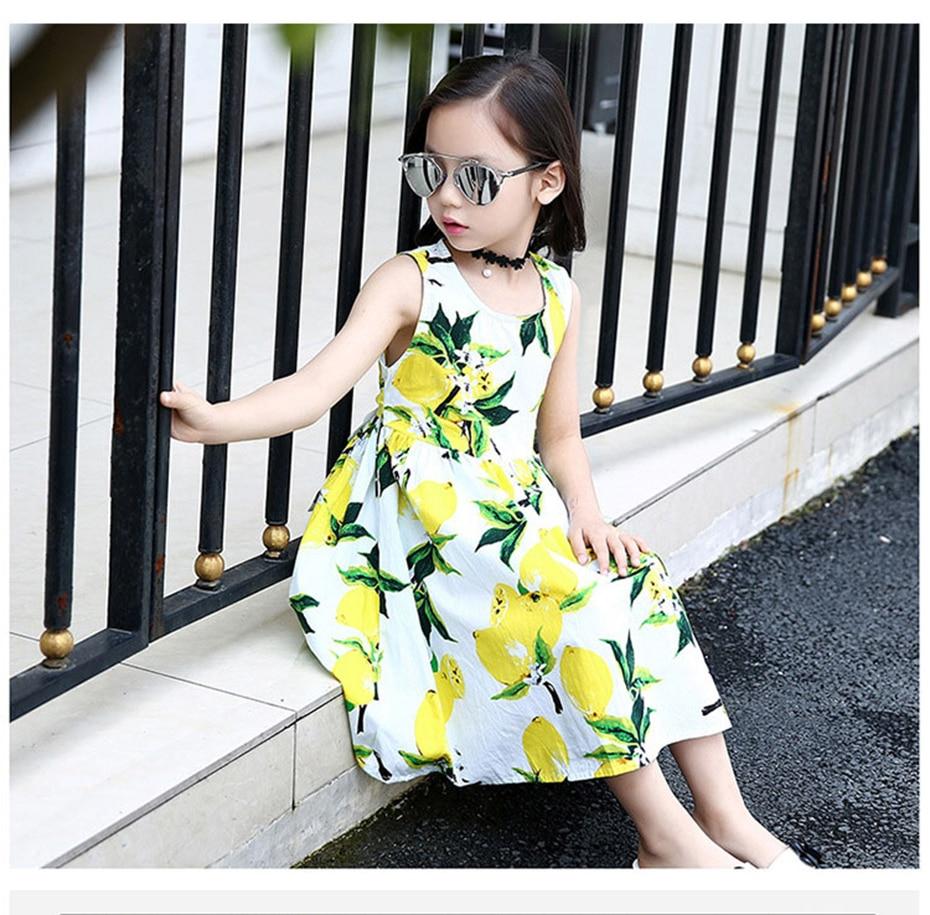 Sommer Mädchen Kleid Lemon Printed Prinzessin Kleider Teenager ...