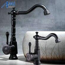 Резной Черный Бронзовый Матовый кран для раковины 360 Поворотный резной ручкой смесители для ванной комнаты Смеситель для горячей и холодной воды смесители для кухни 906B