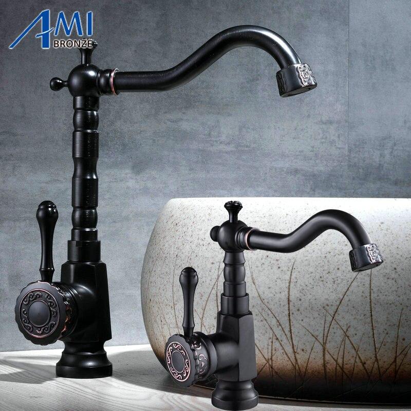 Robinet de lavabo brossé noir nouvellement sculpté 360 robinets de salle de bain poignée sculptée pivotant robinets de cuisine mélangeur froid chaud 906B