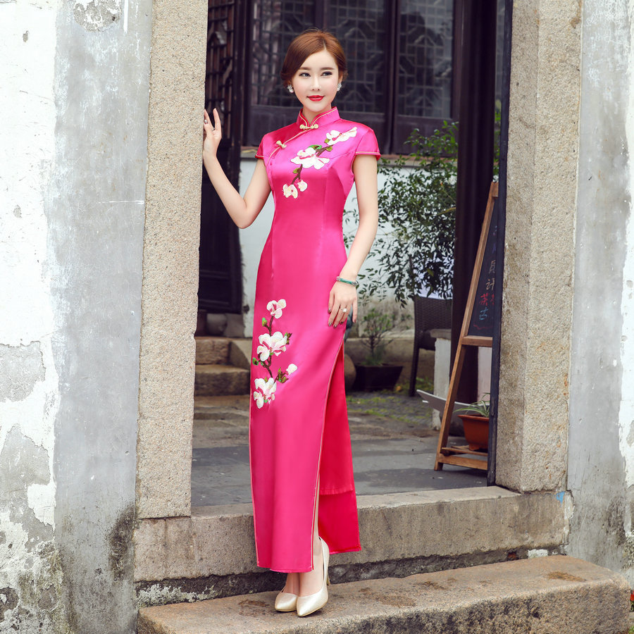 2017 de largo cheongsam sexy bordado qipao tradicional vestidos de ...