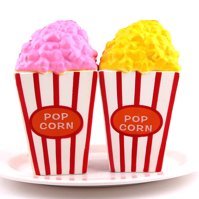 15CM Jumbo Popcorn Squishy Slow Rising Cute Soft Squeeze Straps Anti Stress Cream Scented Cake Bread Kid Toy Fun Gift Wholesale