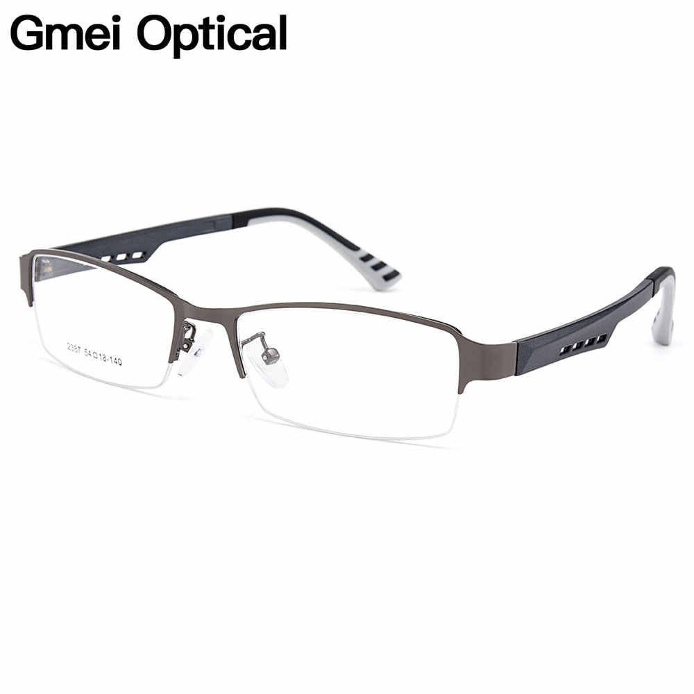 Gmei Optical Men Titanium Alloy Eyeglasses Frame for Men Eyewear Flexible Temples Legs IP Electroplating Alloy Spectacles Y2387