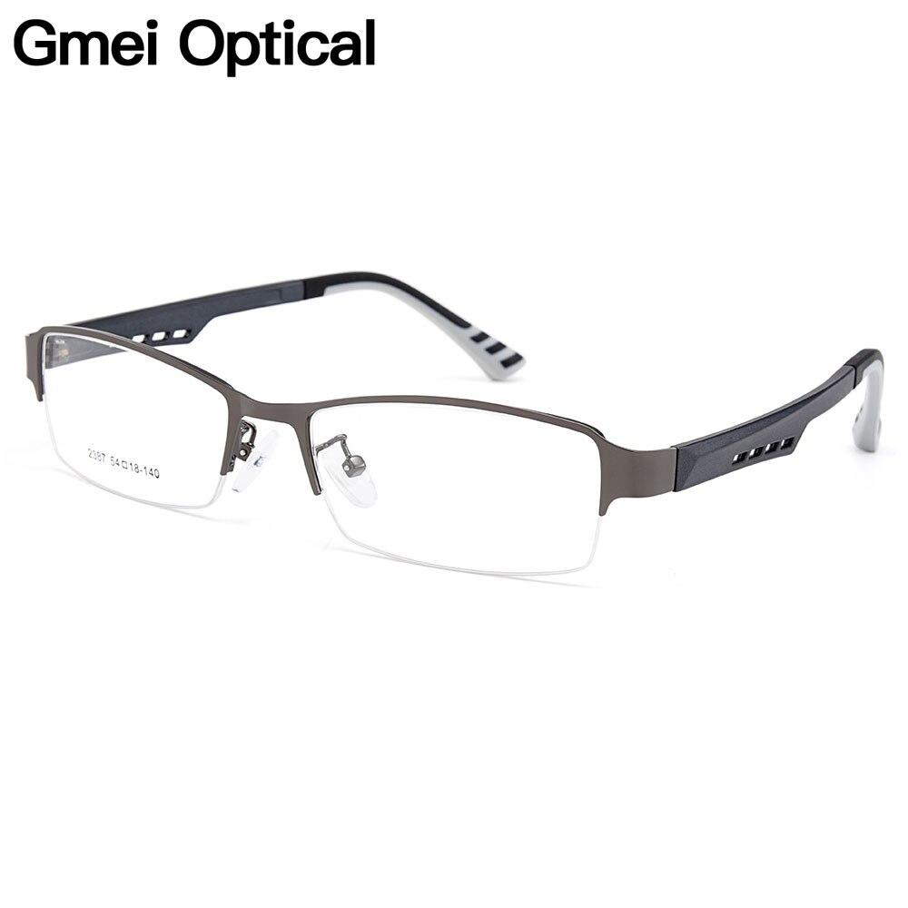 Gmei Optical Men Titanium Alloy Eyeglasses Frame For Men Eyewear Flexible Temples Legs IP Electroplating Alloy Spectacles Y2387
