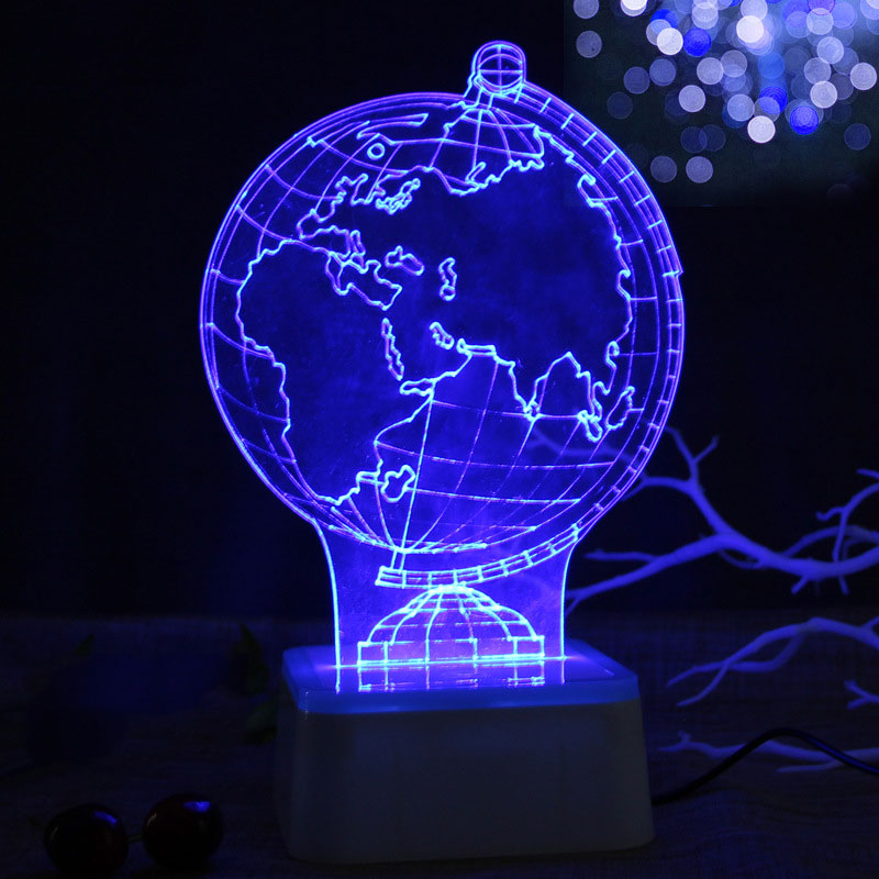 3D Table Lamp Indoor Lighting Decoration Touch Control Christmas Xmas Night Light Globe USB Charging Bright LED Colorful image