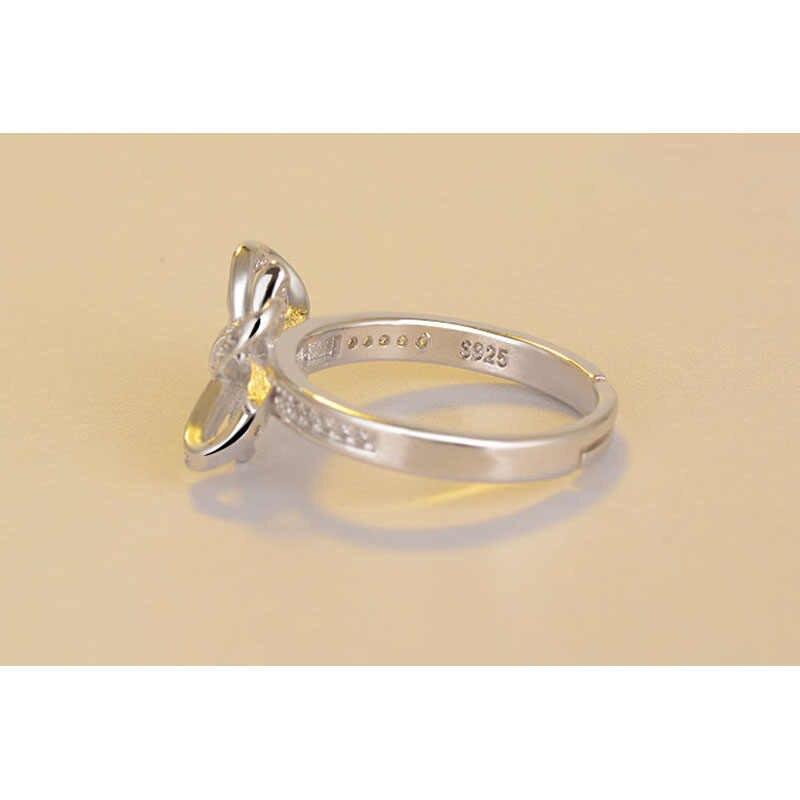 הכי חדש עיצוב קשת מיקרו-משובץ באיכות גבוהה 925 כסף סטרלינג תכשיטי חתונה פתיחת אישיות טבעת