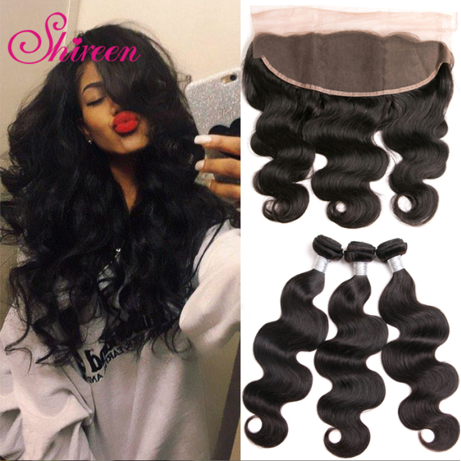 Shireen Hair Brazilian Body Wave 3 Bundles With Frontal Remy Human Hair Weave Bundles Deals With 13*4 Lace Frontal Hair