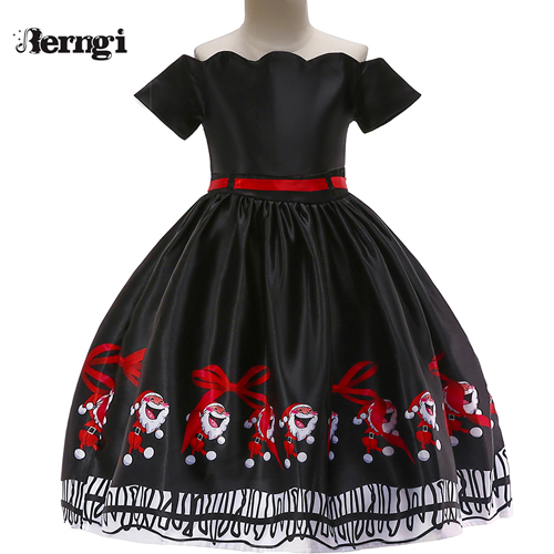 Berngi/новое красивое платье с принтом для девочек; vestidos; платье принцессы Санты для маленьких девочек; рождественские наряды; одежда - Цвет: Style J